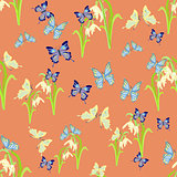 snowdrop flowers and butterflies on a pink. seamless pattern vec