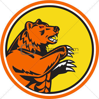 California Grizzly Bear Side Circle Retro