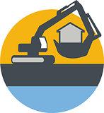 Excavator Digger Handling House Circle Retro