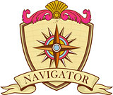 Compass Navigator Coat of Arms Crest Retro