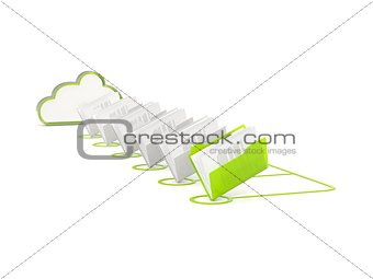 Green cloud drive icon with folders