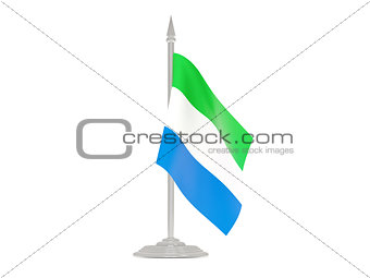 Flag of sierra leone with flagpole. 3d render
