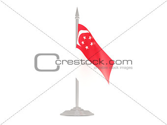 Flag of singapore with flagpole. 3d render