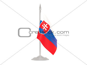 Flag of slovakia with flagpole. 3d render