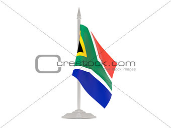 Flag of south africa with flagpole. 3d render