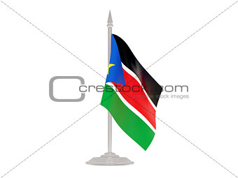 Flag of south sudan with flagpole. 3d render