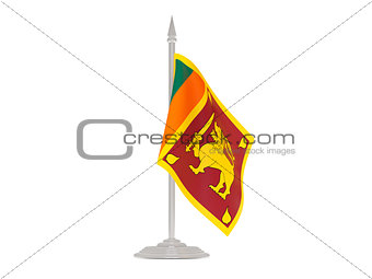 Flag of sri lanka with flagpole. 3d render
