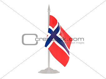 Flag of svalbard and jan mayen with flagpole. 3d render