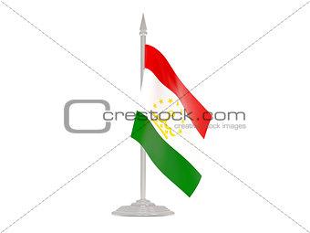 Flag of tajikistan with flagpole. 3d render