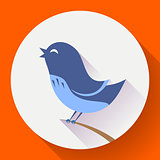 Bird singing vector icon. Flat design style