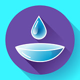 Contact lense with water drop icon. Flat design style.
