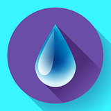 Blue shiny water drop icon. Flat design style