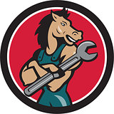 Horse Mechanic Spanner Circle Cartoon