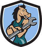 Horse Mechanic Spanner Crest Cartoon