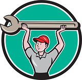 Mechanic Lifting Giant Wrench Circle Cartoon