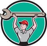 Mechanic Lifting Giant Wrench Circle Cartoon