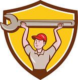 Mechanic Lifting Giant Wrench Crest Cartoon
