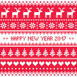 Happy New Year 2017 - Scandinavian red embroidery pattern