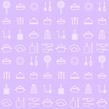 Seamless line kitchen icons background