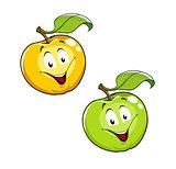 Cartoon Ripe fresh apple with leaf