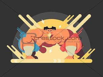 Athletes sumo fight
