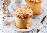 Easter Bread Topped with Flaked Almonds and Sugar Glaze