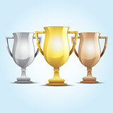 gold, silver and bronze winners cup. Vector illustration