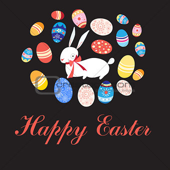 Greeting card with Easter eggs and rabbit