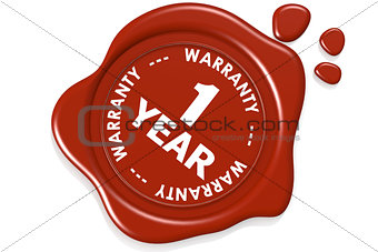One year warranty seal isolated on white background