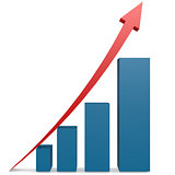 Red arrow and blue bar chart