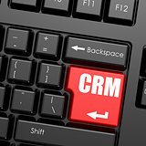 Red enter button on computer keyboard, CRM word