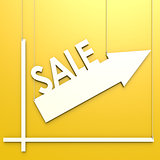 Sale word with chart hang on yellow background