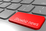 Showbiz news word on red keyboard button