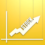 Stock word with chart hang on yellow background