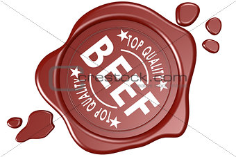 Top quality beef label seal isolated