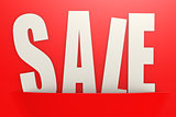White sale word in red pocket, business concept