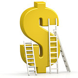 Yellow dollar sign with ladder