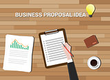 business proposal idea in work desk wood background