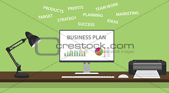 business plan with graph and some domain related