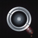 Speaker double ring over metal background