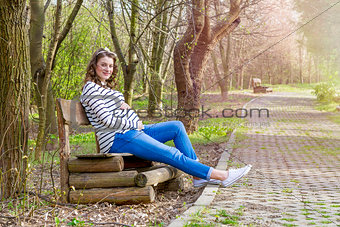 beautiful pregnant woman outdoor in the park