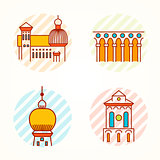 Set of Monument and building thin line colorful vector icons.