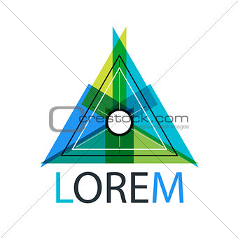 Abstract multicolored origami triangle logo design with thin line elements.