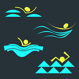 Set of swimming person silhouettes