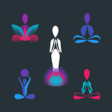 Set of Yoga pose vector logo and icon design templates.