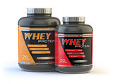 Whey protein isolated on white. Sports bodybuilding  supplements