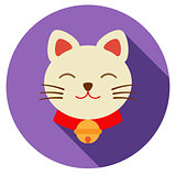 Lucky cat icon flat