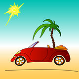 red car and palm tree, cabriolet summer illustration