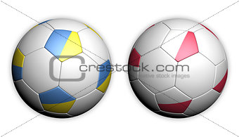 Football championship in Europe; soccer ball with flags: Poland and Ukraine