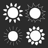 Set of hand drawn vector sun